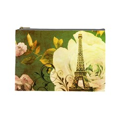 Floral Eiffel Tower Vintage French Paris Cosmetic Bag (Large)