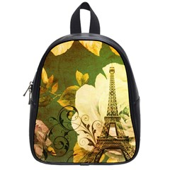 Floral Eiffel Tower Vintage French Paris School Bag (Small)