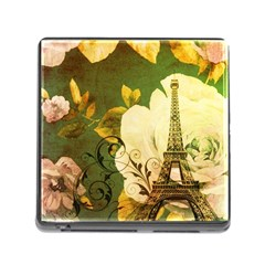 Floral Eiffel Tower Vintage French Paris Memory Card Reader with Storage (Square)
