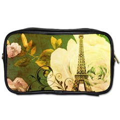 Floral Eiffel Tower Vintage French Paris Travel Toiletry Bag (two Sides)