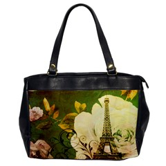 Floral Eiffel Tower Vintage French Paris Oversize Office Handbag (One Side)