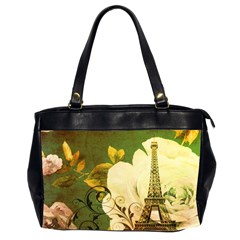 Floral Eiffel Tower Vintage French Paris Oversize Office Handbag (Two Sides)