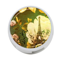 Floral Eiffel Tower Vintage French Paris 4 Port Usb Hub (two Sides)