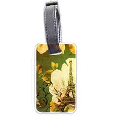 Floral Eiffel Tower Vintage French Paris Luggage Tag (Two Sides)