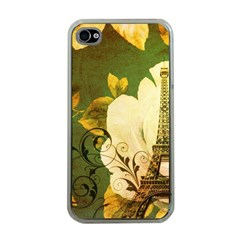Floral Eiffel Tower Vintage French Paris Apple iPhone 4 Case (Clear)