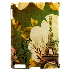Floral Eiffel Tower Vintage French Paris Apple iPad 2 Hardshell Case (Compatible with Smart Cover)