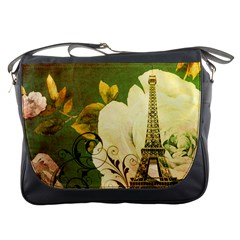 Floral Eiffel Tower Vintage French Paris Messenger Bag