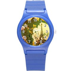 Floral Eiffel Tower Vintage French Paris Plastic Sport Watch (small)
