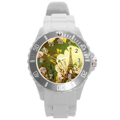 Floral Eiffel Tower Vintage French Paris Plastic Sport Watch (Large)