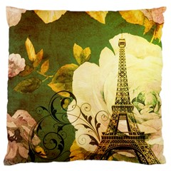 Floral Eiffel Tower Vintage French Paris Large Cushion Case (Single Sided)