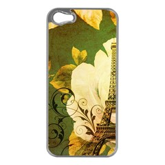 Floral Eiffel Tower Vintage French Paris Apple Iphone 5 Case (silver)