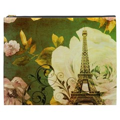 Floral Eiffel Tower Vintage French Paris Cosmetic Bag (XXXL)