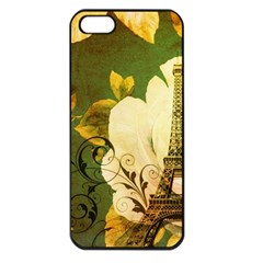 Floral Eiffel Tower Vintage French Paris Apple iPhone 5 Seamless Case (Black)