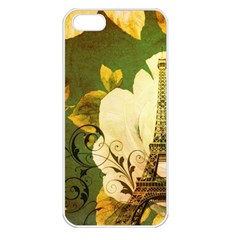 Floral Eiffel Tower Vintage French Paris Apple Iphone 5 Seamless Case (white)