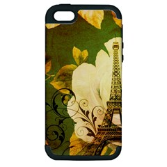 Floral Eiffel Tower Vintage French Paris Apple Iphone 5 Hardshell Case (pc+silicone)