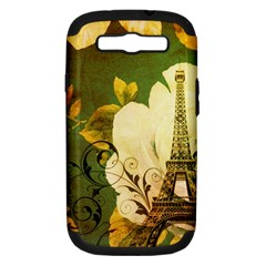 Floral Eiffel Tower Vintage French Paris Samsung Galaxy S III Hardshell Case (PC+Silicone)