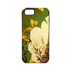 Floral Eiffel Tower Vintage French Paris Apple Iphone 5 Classic Hardshell Case (pc+silicone)