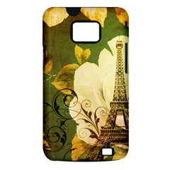 Floral Eiffel Tower Vintage French Paris Samsung Galaxy S II Hardshell Case (PC+Silicone)