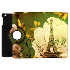 Floral Eiffel Tower Vintage French Paris Apple iPad Mini Flip 360 Case