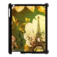 Floral Eiffel Tower Vintage French Paris Apple iPad 3/4 Case (Black)