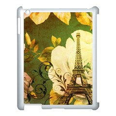 Floral Eiffel Tower Vintage French Paris Apple iPad 3/4 Case (White)