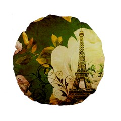 Floral Eiffel Tower Vintage French Paris 15  Premium Round Cushion