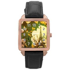 Floral Eiffel Tower Vintage French Paris Rose Gold Leather Watch