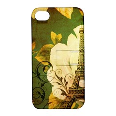 Floral Eiffel Tower Vintage French Paris Apple iPhone 4/4S Hardshell Case with Stand