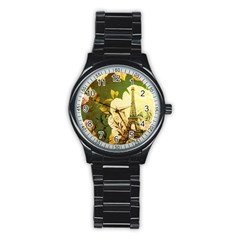 Floral Eiffel Tower Vintage French Paris Sport Metal Watch (black)