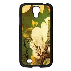 Floral Eiffel Tower Vintage French Paris Samsung Galaxy S4 I9500/ I9505 (black)