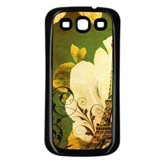 Floral Eiffel Tower Vintage French Paris Samsung Galaxy S3 Back Case (Black)