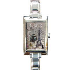 Floral Vintage Paris Eiffel Tower Art Rectangular Italian Charm Watch