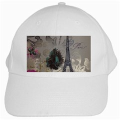 Floral Vintage Paris Eiffel Tower Art White Baseball Cap