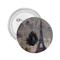 Floral Vintage Paris Eiffel Tower Art 2 25  Button