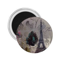 Floral Vintage Paris Eiffel Tower Art 2.25  Button Magnet