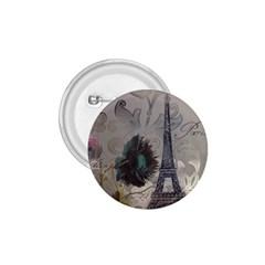 Floral Vintage Paris Eiffel Tower Art 1 75  Button