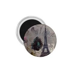Floral Vintage Paris Eiffel Tower Art 1 75  Button Magnet