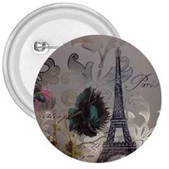 Floral Vintage Paris Eiffel Tower Art 3  Button