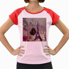 Floral Vintage Paris Eiffel Tower Art Women s Cap Sleeve T-Shirt (Colored)