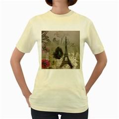 Floral Vintage Paris Eiffel Tower Art  Womens  T-shirt (Yellow)