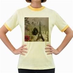 Floral Vintage Paris Eiffel Tower Art Womens  Ringer T-shirt (Colored)