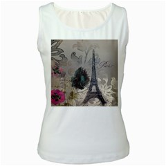 Floral Vintage Paris Eiffel Tower Art Womens  Tank Top (White)