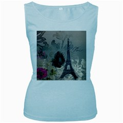 Floral Vintage Paris Eiffel Tower Art Womens  Tank Top (Baby Blue)