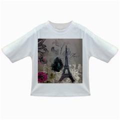 Floral Vintage Paris Eiffel Tower Art Baby T-shirt
