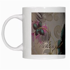 Floral Vintage Paris Eiffel Tower Art White Coffee Mug