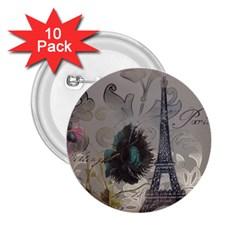 Floral Vintage Paris Eiffel Tower Art 2.25  Button (10 pack)