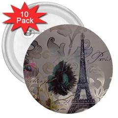 Floral Vintage Paris Eiffel Tower Art 3  Button (10 Pack)