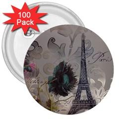 Floral Vintage Paris Eiffel Tower Art 3  Button (100 pack)