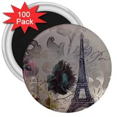 Floral Vintage Paris Eiffel Tower Art 3  Button Magnet (100 Pack)