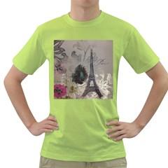 Floral Vintage Paris Eiffel Tower Art Mens  T Shirt (green)